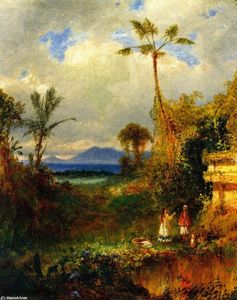Order Art Reproduction : Two Women in a Tropical Landscape, 1864 by Louis Remy Mignot (1831-1870, United States) | WahooArt.com
