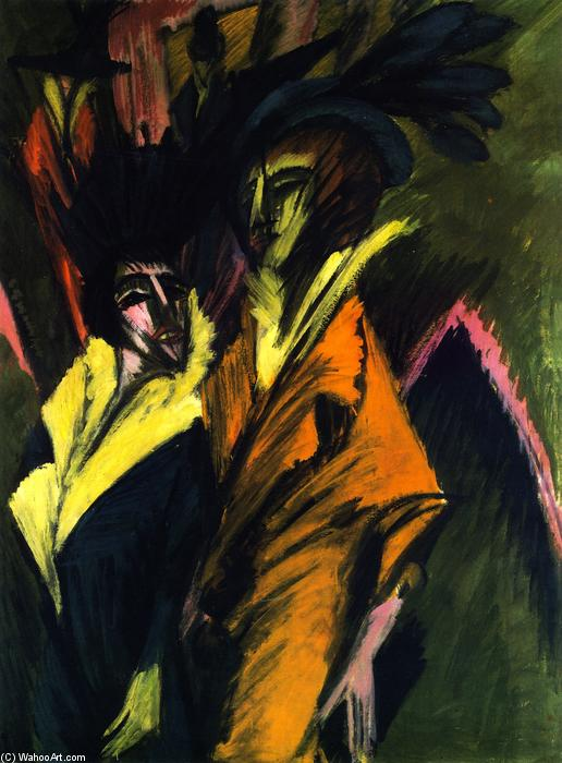 Two Women on the Street, 1914 by Ernst Ludwig Kirchner (1880-1938, Germany) | Famous Paintings Reproductions | WahooArt.com
