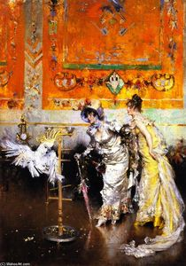 Giovanni Boldini - Two Women with a Parrot (also known as Teasing the Parrot)