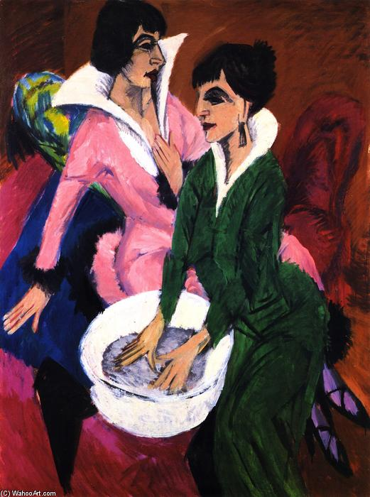 Two Women with a Washbasin, Glass by Ernst Ludwig Kirchner (1880-1938, Germany)