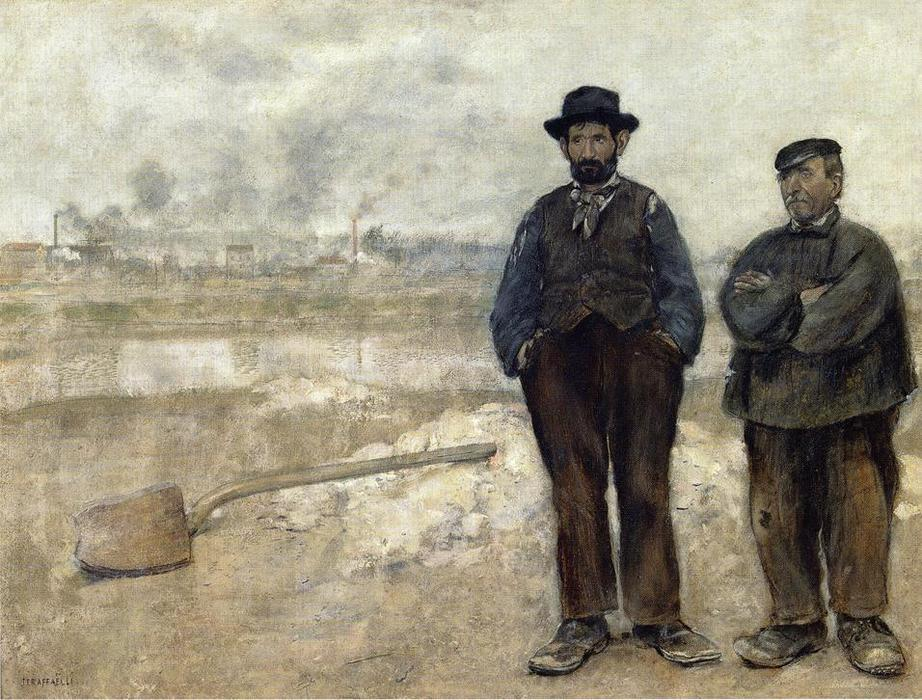 Two Workmen by Jean-François Raffaelli (1850-1924, France) | Painting Copy | WahooArt.com