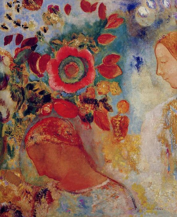 Two Young Girls among Flowers, 1905 by Odilon Redon (1840-1916, France) | Museum Art Reproductions Odilon Redon | WahooArt.com