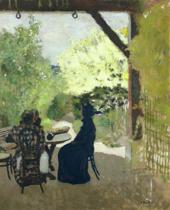 Under the Portico, Oil by Jean Edouard Vuillard (1868-1940, France)
