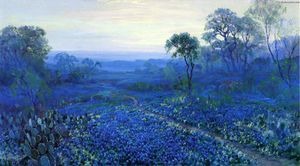 Robert Julian Onderdonk - Untitled (also known as Bluebonnet Landscape with Catci, Road and Mountain Laurel)
