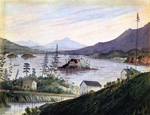 Upper Cacades, Looking Up Columbia River, Watercolour by James Madison Alden  (order Fine Art oil painting James Madison Alden)