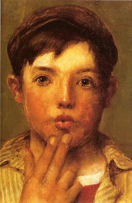 Urchin Head of Boy by John George Brown (1831-1913, United Kingdom) | Oil Painting | WahooArt.com