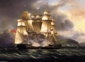 James Edward Buttersworth - The U.S.S. Chesapeake-- and H.M.S. --Shannon-- in the Battle of Boston--