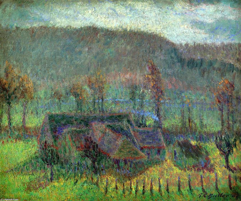 Valley Farm (also known as Cottage in Giverny), 1907 by Theodore Earl Butler (1861-1936, United States) | Oil Painting | WahooArt.com