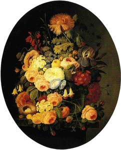 Severin Roesen - Vase of Flowers with Bird's Nest