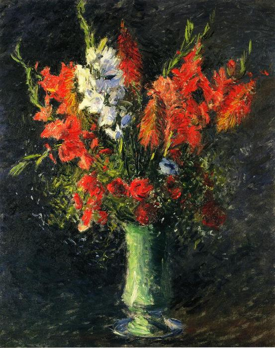 Vase of Gladiolas, Oil On Canvas by Gustave Caillebotte (1848-1894, France)
