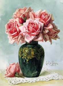 Raoul De Longpre - Vase with Pink Roses