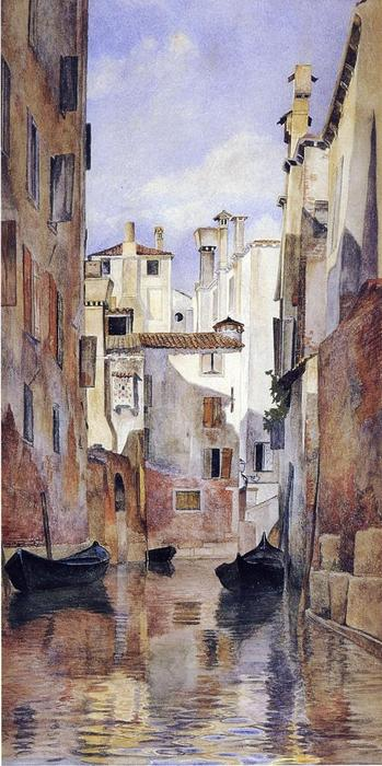 Venetian Canal Scene, 1871 by Henry Roderick Newman (1833-1918, United States) | Famous Paintings Reproductions | WahooArt.com