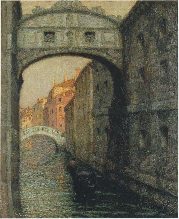 Venice - the Canal of Sighs, Oil On Canvas by Henri Eugène Augustin Le Sidaner (1862-1939, Mauritius)