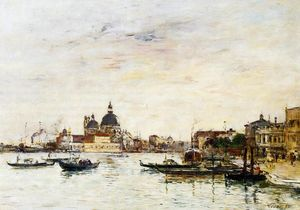 Eugène Louis Boudin - Venice, the Mole at the Entrance of the Grand Canal and the Salute