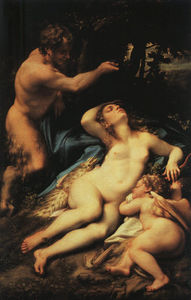 Antonio Allegri Da Correggio - Venus and Cupid with a Satyr