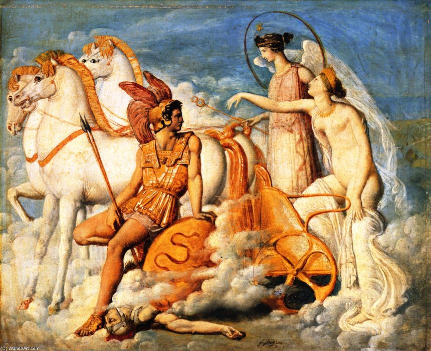 Venus, Wounded by Diomedes, Returns to Olympus, Painting by Jean Auguste Dominique Ingres (1780-1867, France)