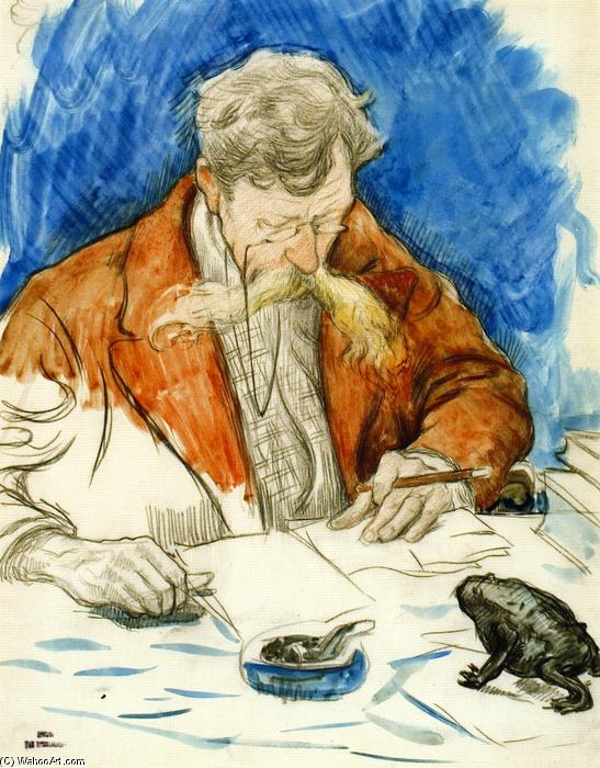 Verhaeren Reading His own Work, 1895 by Theo Van Rysselberghe (1862-1926, Belgium) | Museum Quality Reproductions | WahooArt.com