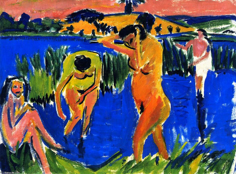 Vier Badende, 1910 by Ernst Ludwig Kirchner (1880-1938, Germany) | WahooArt.com