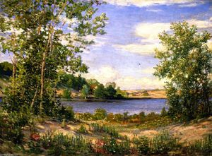 Joseph Kleitsch - A View Across the Lake, Saugatuck, Michigan (also known as Lake Wildflowers, Saugatuck, Michigan)