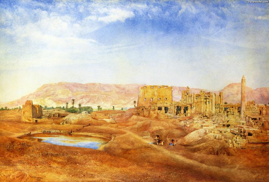 View at Karnak, Egypt, 1889 by Henry Roderick Newman (1833-1918, United States) | Museum Quality Reproductions | WahooArt.com