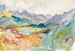 Giovanni Giacometti - View at lake Sils towards Piz Margna and Piz