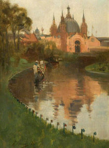 John Lavery - View from the Canal of the Industrial Hall, Kelvingrove, at the First International Exhibition