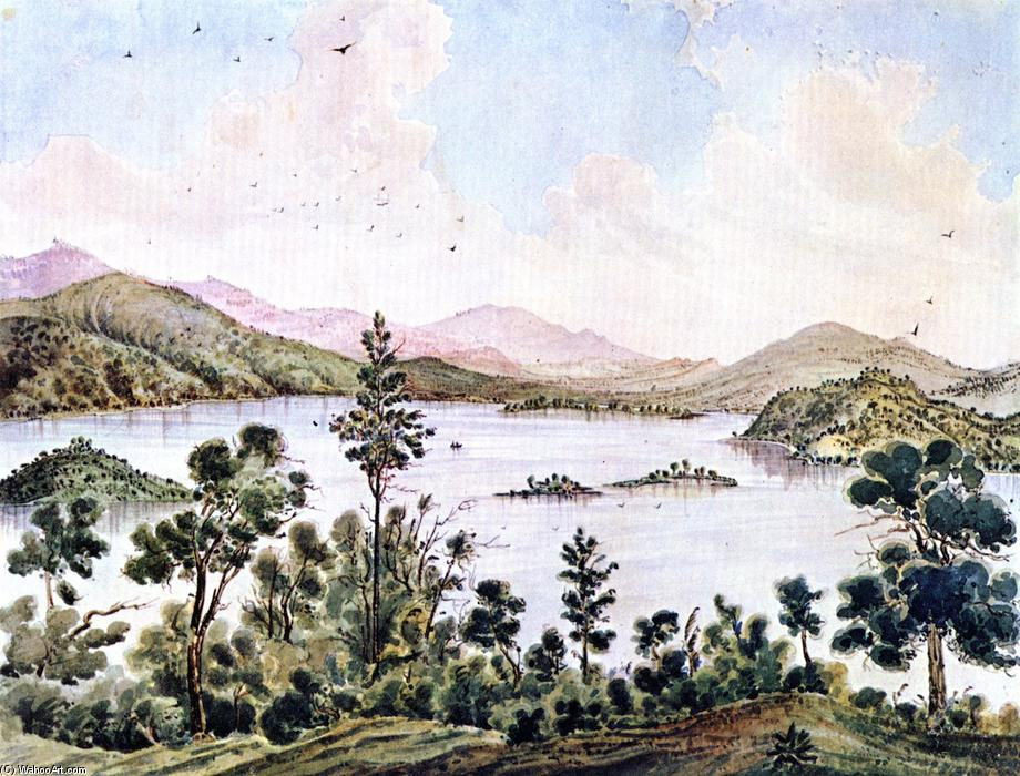 View from Foot of Mt. Conoktai near Clear Lake, California, Watercolour by James Madison Alden (1834-1922, United States)