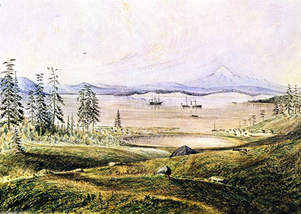 View from Hill on San Juan Island Looking South with Ontario Roads, Active and Ewing at Anchor, Lopez Island and Mount Baker in the Distance, 1859 by James Madison Alden (1834-1922, United States) | Famous Paintings Reproductions | WahooArt.com