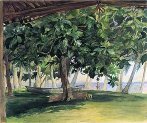 John La Farge - View from Hut, at Vaiala in Upolu, Bread Fruit Tree, War Drums and Canoe, Nov. 19th, 1890