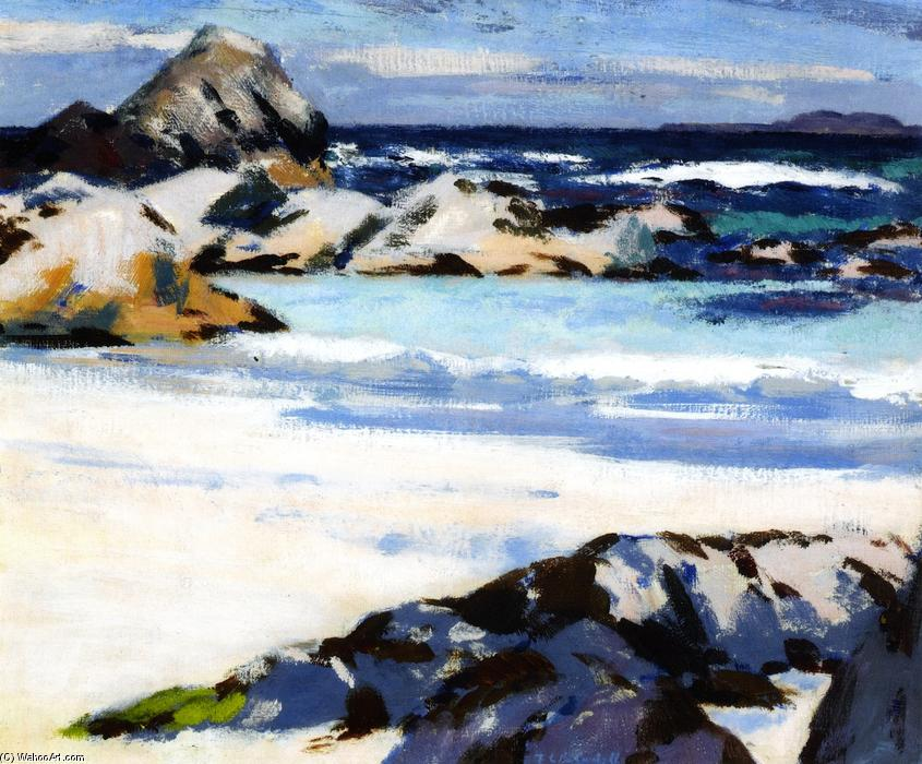 A View from Iona Looking Towards Lunga, Oil On Panel by Francis Campbell Boileau Cadell (1883-1937)