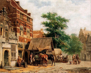 Cornelius Springer - View in a street, Culemborg, with a blacksmith at work