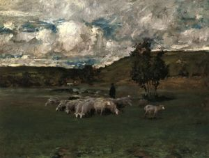 William Merritt Chase - View near Polling (also known as Landscape with Sheep)