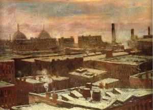 Robert Julian Onderdonk - View of City Rooftops in Winter