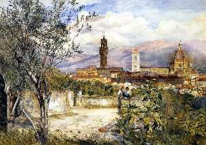 Henry Roderick Newman - View of the Duomo fro the Mozzi Garden, Florence
