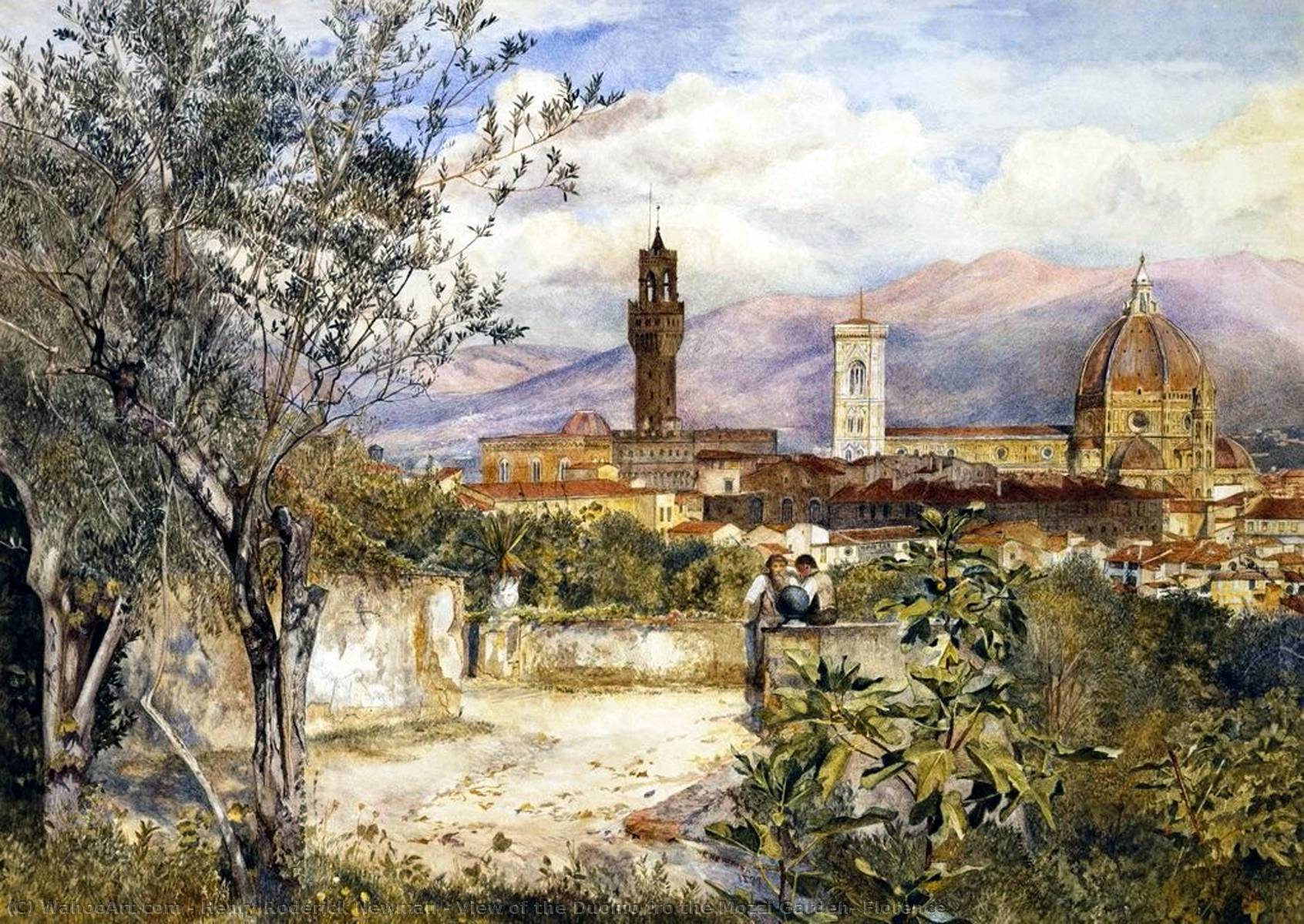 View of the Duomo fro the Mozzi Garden, Florence, 1877 by Henry Roderick Newman (1833-1918, United States) | Famous Paintings Reproductions | WahooArt.com