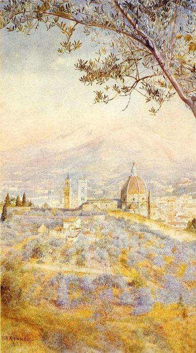 View of Florence from the East, Watercolour by Henry Roderick Newman (1833-1918, United States)