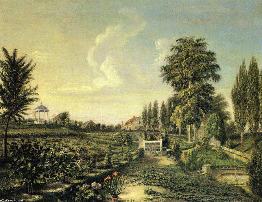 View of the Garden at Belfield, 1816 by Charles Willson Peale (1741-1827, United Kingdom) | Painting Copy | WahooArt.com
