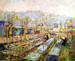 Ernest Lawson - View of a Garden in a Paris Suburb