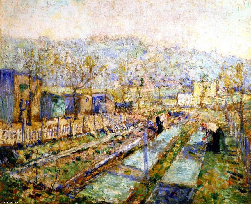 View of a Garden in a Paris Suburb, Oil On Canvas by Ernest Lawson (1873-1939, Canada)