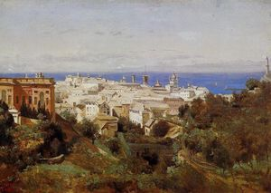 Jean Baptiste Camille Corot - View of Genoa from the Promenade of Acqua Sola