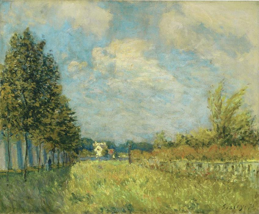View of the Hermitage near Pontoise, Oil On Canvas by Alfred Sisley (1839-1899, France)