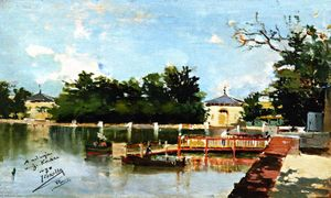 Joaquin Sorolla Y Bastida - View of the Jetty in the Retiro Gardens, Madrid