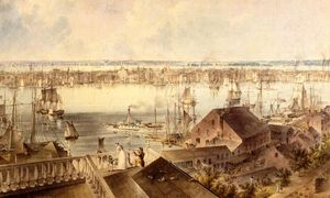 John William Hill - View of New York from Brooklyn Heights