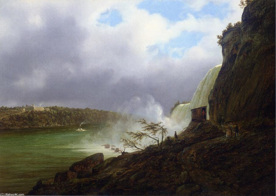 A View of Niagara Falls, Oil On Canvas by Joachim Ferdinand Richardt (1819-1895, Denmark)