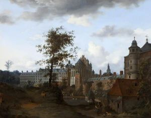 Jan Van Der Heyden - A View of the Palace of the Dukes of Brabant, Brussels