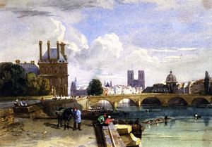 David Cox - A View of the Pavillon de Flore and the Tuileries from the Seine, Notre Dame, Paris