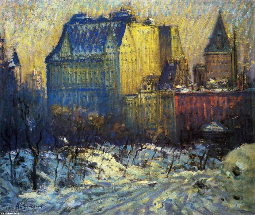 Order Famous Paintings Reproductions : A View of the Plaza from Central Park in Winter by Arthur Clifton Goodwin (1864-1929, United States) | WahooArt.com