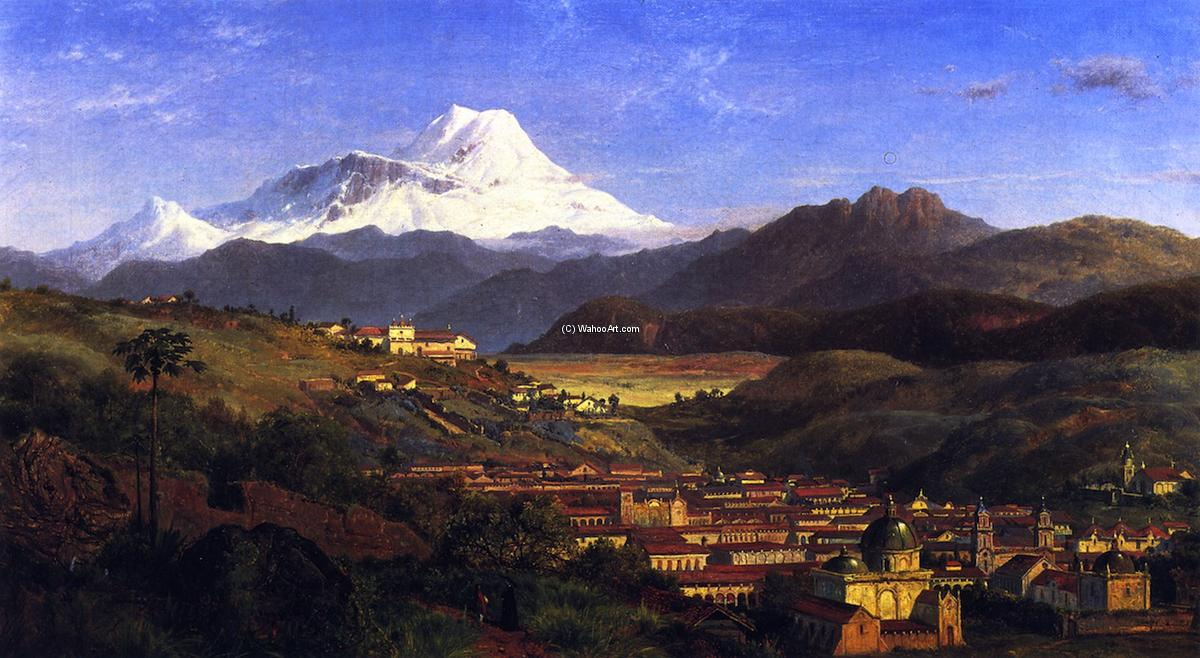 View of Riobamba, Ecuador, Looking North Towards Mount Chimborazo, 1859 by Louis Remy Mignot (1831-1870, United States) | Famous Paintings Reproductions | WahooArt.com
