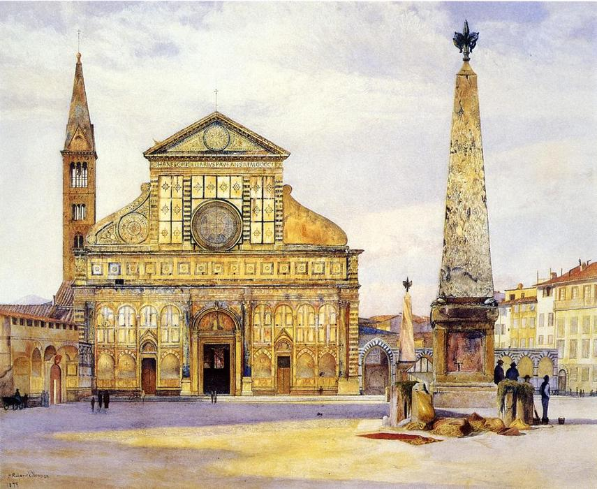 View of Santa Maria Novella, Watercolour by Henry Roderick Newman (1833-1918, United States)