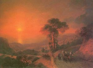 Ivan Aivazovsky - View of the Sea from the Mountains at Sunset. Crimea.